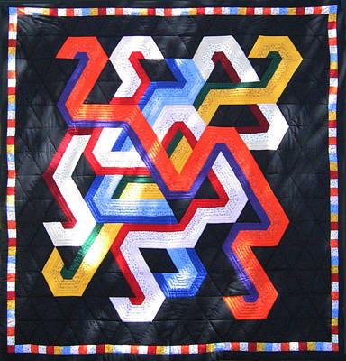Eva Markos Tapestry - Textile - Patchwork Quilt 27 - Table Cover by Eva Sandor