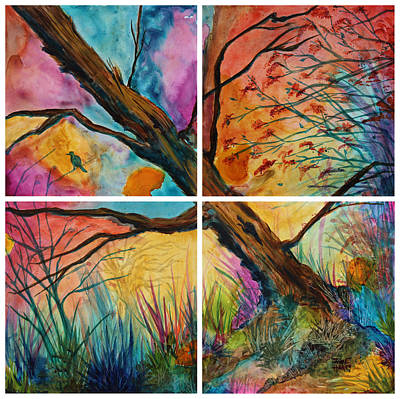 Painting - Patchwork Sky Tree Painting With Colorful Sky by Jaime Haney