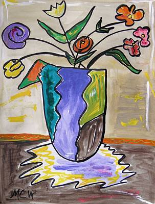Visionary Art Drawing - Patchwork Vase by Mary Carol Williams