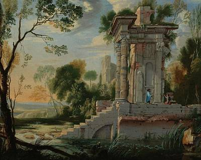 The Followers Painting - Patel The Younger Architectural Capriccio by MotionAge Designs