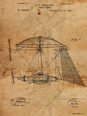 Patent Drawing Aerial Vessel Flying Machine I Print by Michel Keck