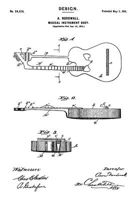 Acoustic Guitar Digital Art - Patent Drawing For The 1901 Musical Instrument Guitar Body By A. Nordwall by Jose Elias - Sofia Pereira
