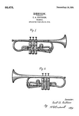 Patents Digital Art - Patent Drawing For The 1918 Trumpet By E. A. Couturier by Jose Elias - Sofia Pereira