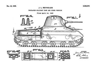 Patent Drawing For The 1943 Insulated Military Tank And Other Vehicle By J. L. Reynolds Art Print by Jose Elias - Sofia Pereira