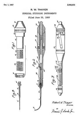 Surgical Instrument Digital Art - Patent Drawing For The 1953 Surgical Stitching Instruments By R. W. Thayer by Jose Elias - Sofia Pereira