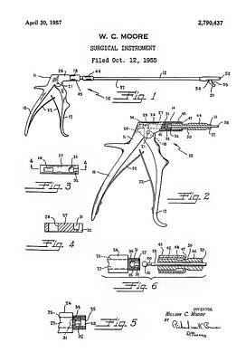 Medical Instrument Digital Art - Patent Drawing For The 1955 Surgical Instrument By W. C. Moore by Jose Elias - Sofia Pereira