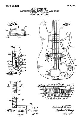 Lute Digital Art - Patent Drawing For The 1959 Electromagnetic Pickup For Lute Type Musical Instrument By C. L. Fender by Jose Elias - Sofia Pereira