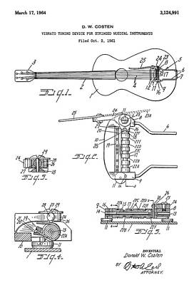 Patent Drawing For The 1961 Vibrato Tuning Device For Stringed Musical Instruments By D. W. Costen Art Print by Jose Elias - Sofia Pereira