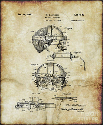Photograph - Patent For 1940 Welders Goggles by Doc Braham