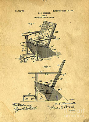 Chair Drawing - Patent For The First Adirondack Chair 1905 by Edward Fielding