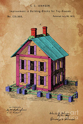 Patent, Improvement In Building Blocks For Toy Houses, Year 1872 Art Print