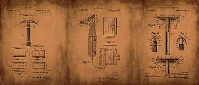 Mixed Media - Patent  Razor Art Barry Toles Johansan by Lesa Fine