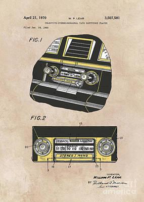 Cartridge Digital Art - patent Selective stereo tape cartridge player Lear 1970 by Justyna JBJart