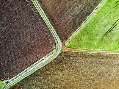 Photograph - Path And Field Aerial Image by Matthias Hauser