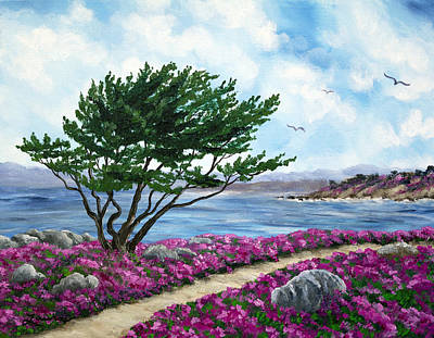 Monterey Painting - Path By A Cypress Tree In May by Laura Iverson
