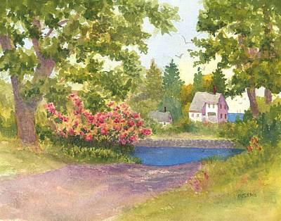 Painting - Path Down To Round Pond In Maine  by Roseann Meserve