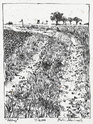 Drawing - Path In The Fields Landscape Ink Drawing by Martin Stankewitz