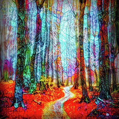 Mixed Media - Path In The Forest by Lilia D