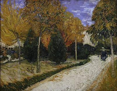 Post-impressionism Painting - Path In The Park At Arles by Vincent Van Gogh