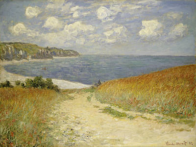 Seascape Oil Painting - Path In The Wheat At Pourville by Claude Monet