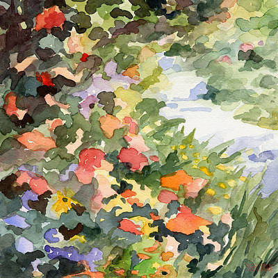 Abstract Landscapes Painting - Path Monets Garden Watercolor Paintings Of France by Beverly Brown