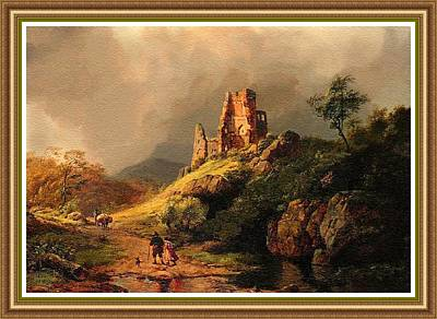Park Scene Digital Art - Path Next To The Ruins Of Belloque Castle L B With Decorative Ornate Printed Frame. by Gert J Rheeders