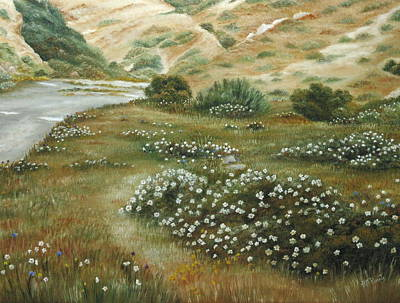 Early Spring Painting - Path Of Flowers by Angeles M Pomata