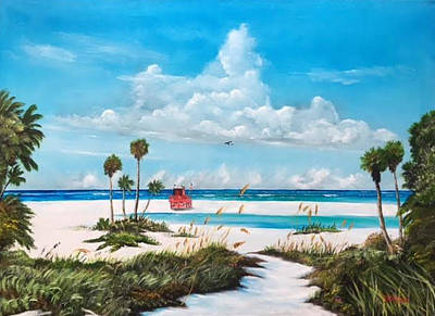 Painting - Path On Siesta Key To The Red Lifeguard Shack by Lloyd Dobson