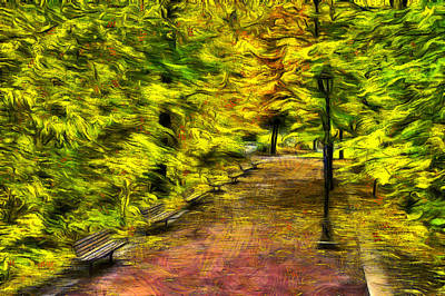 Digital Art - Path Through Fall by Mark Kiver