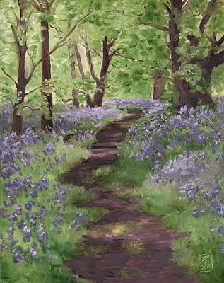 Personalized Name License Plates - Path Through the Bluebells by Brandy Woods