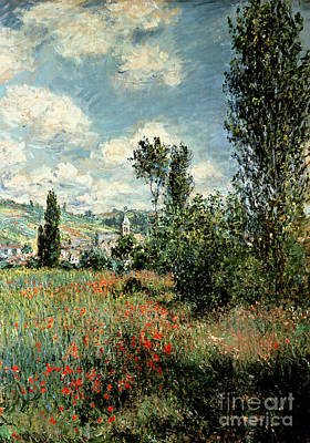 Hills Painting - Path Through The Poppies by Claude Monet