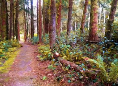 Impressionist Digital Art - Path Through The Trees by Katrina Britt