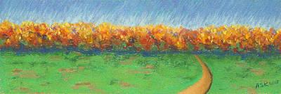 Pastel - Path To Autumn Trees by Anne Katzeff