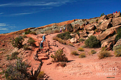 Desert Path Painting - Path To Double O Arch Arches National Park by Corey Ford