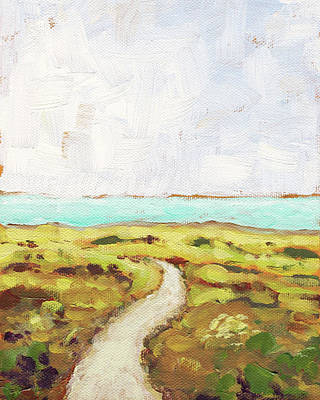 Abstract Landscapes Painting - Path To The Sea by Clary Sage Moon