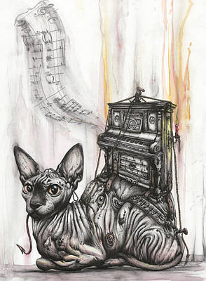 Sphinx Mixed Media - Pathetique Katzenklavier by Tai Taeoalii