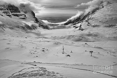 Photograph - Paths To The Athabasca Glacier Black And White by Adam Jewell