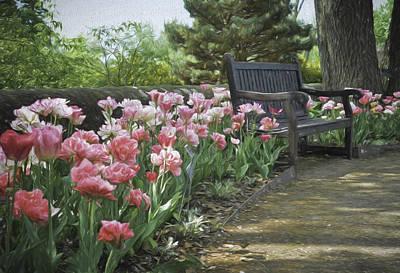 Pathway Digital Art - Pathway Of Tulips by Deb Barchus