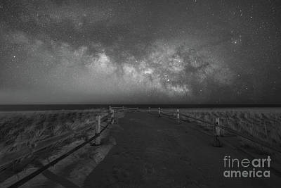 Mountain Landscape - Pathway to the Milky Way BW by Michael Ver Sprill