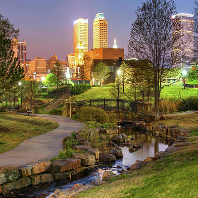 Photograph - Pathway To The Tulsa Oklahoma Skyline 1x1 by Gregory Ballos