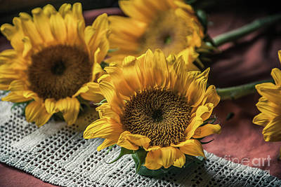 Patience And Sunflowers Original by Chellie Bock