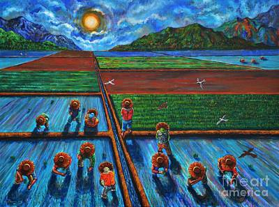 Rice Field Painting - Patiently Planting Paddy by Paul Hilario