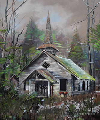 Painting - Patiently Waiting - Church Abandoned by Jan Dappen