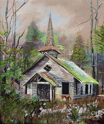 Painting - Patiently Waiting - Church Abandoned-signed by Jan Dappen