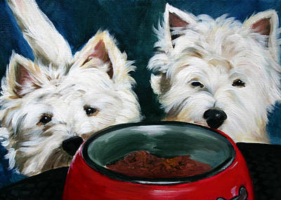 Westie Painting - Patiently Waiting by Mary Sparrow