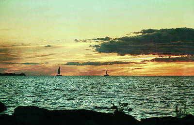 Photograph - Patina Green Distant Sailboats by Aimee L Maher Photography and Art Visit ALMGallerydotcom