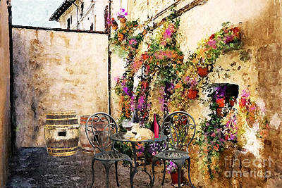 Table Wine Digital Art - Patio And Wine by J Marielle
