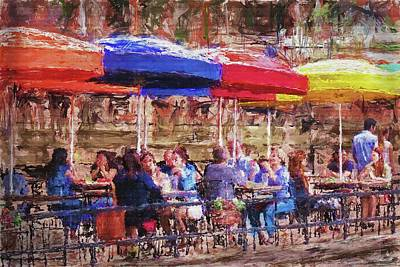 Patio At The Riverwalk Art Print
