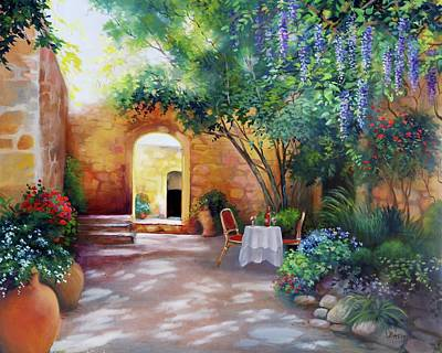 Brunch Painting - Sunlit Courtyard, Tuscany, Italy by Barbara Davies