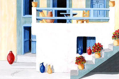 Santorini Patio By The Sea - Prints Of Original Oil Painting Art Print by Mary Grden's Baywood Gallery